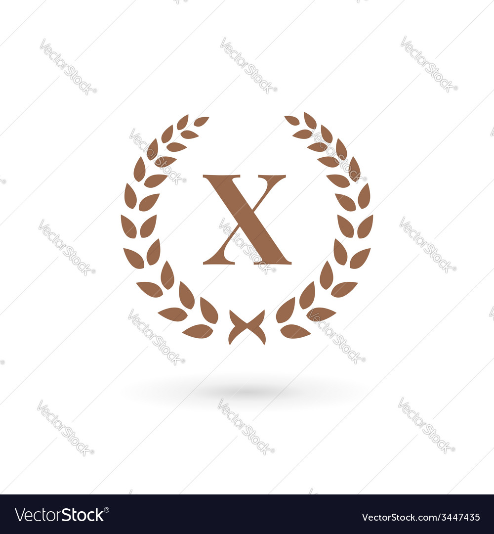 Letter x laurel wreath logo icon design template vector | Price: 1 Credit (USD $1)