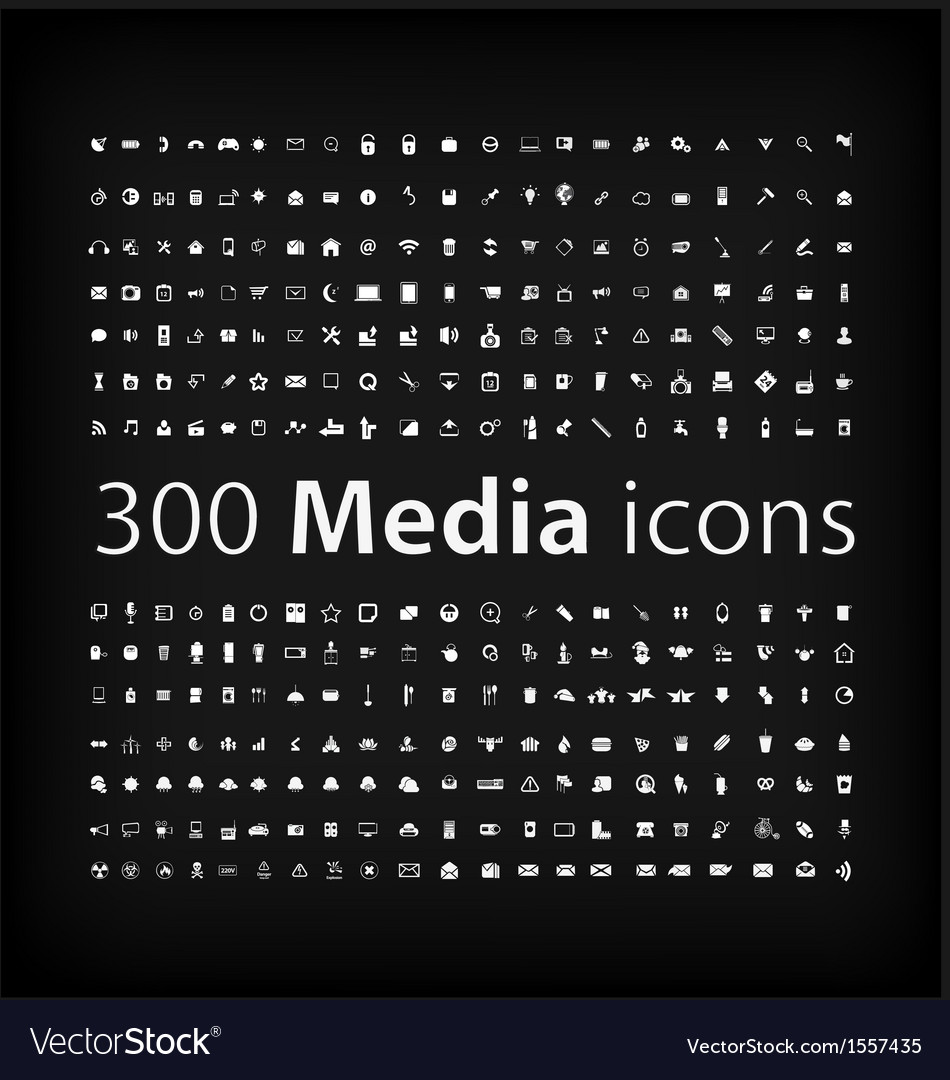 Media icon set office media mobile icon vector | Price: 1 Credit (USD $1)