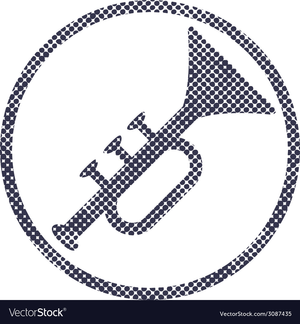 Music pipe icon with halftone dots print texture vector | Price: 1 Credit (USD $1)