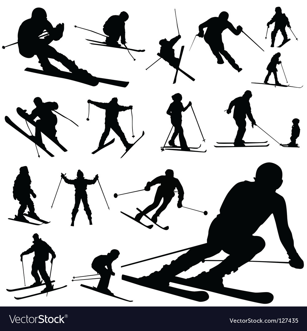 Ski silhouettes vector | Price: 1 Credit (USD $1)