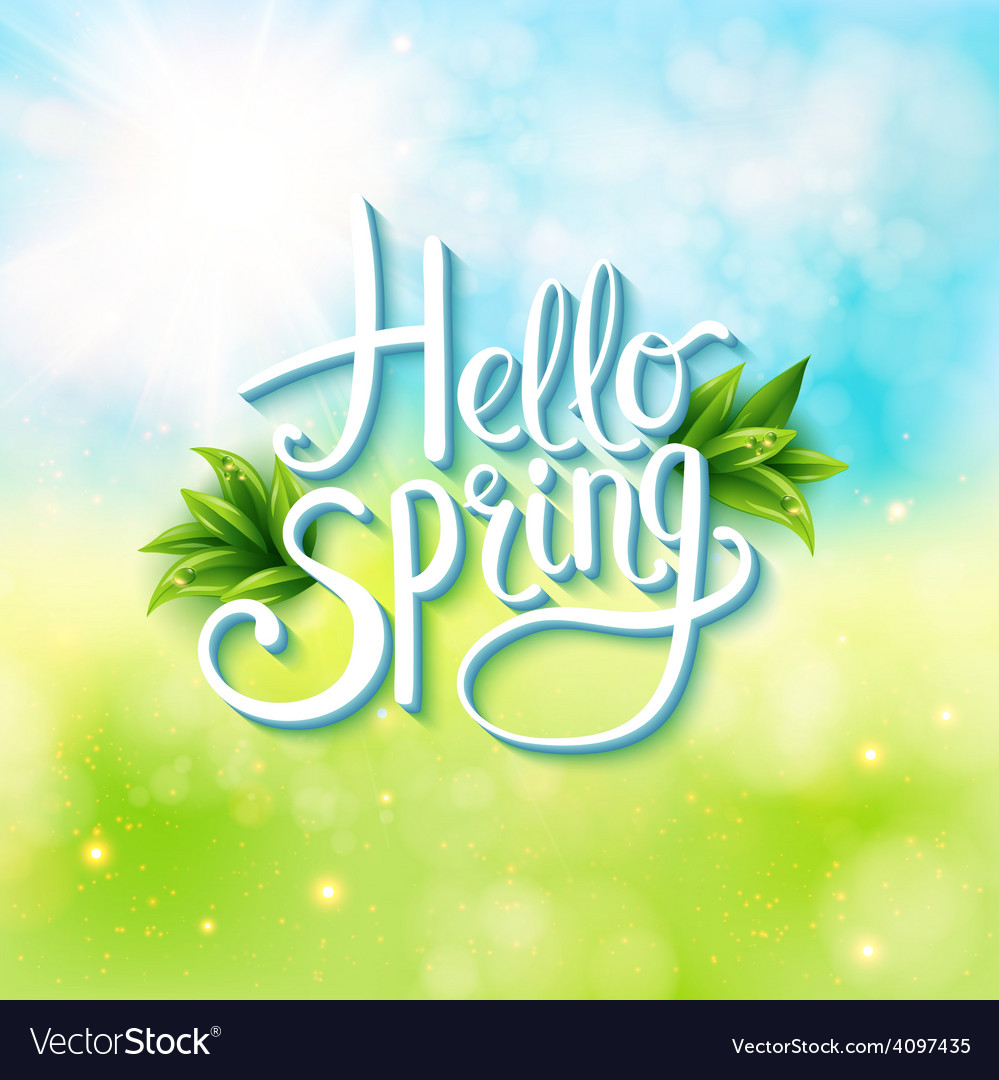 Welcoming the springtime - hello spring vector | Price: 1 Credit (USD $1)