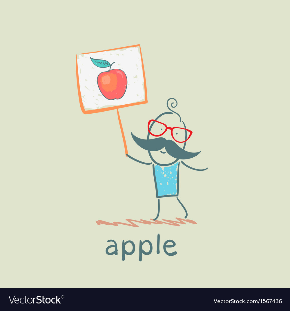 A man with a sign painted apple vector | Price: 1 Credit (USD $1)