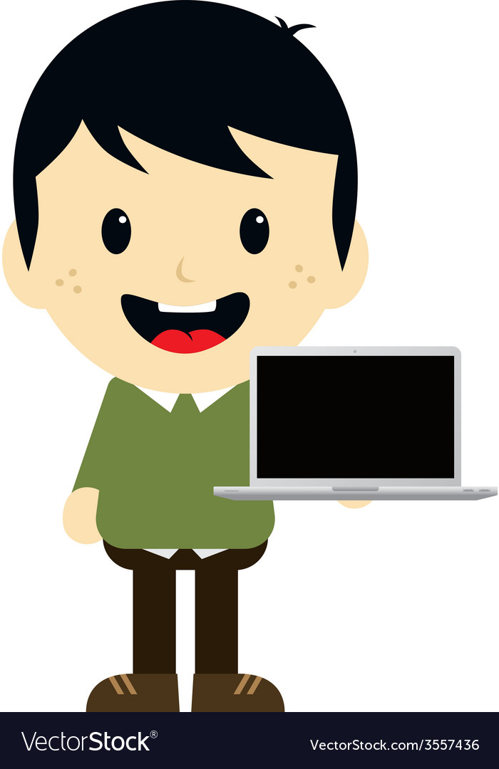 Adorable boy with laptop cartoon character vector | Price: 1 Credit (USD $1)