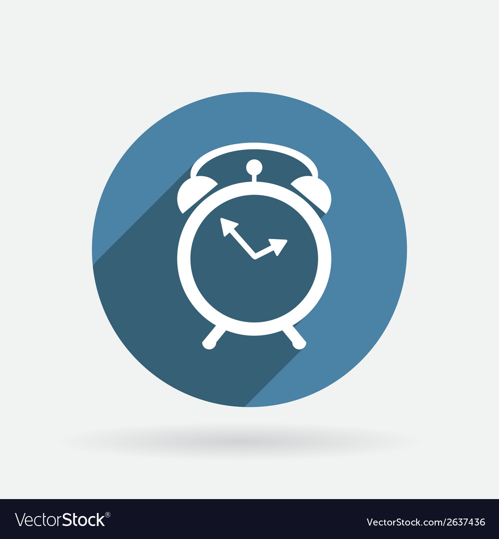 Alarm clock circle blue icon with shadow vector | Price: 1 Credit (USD $1)