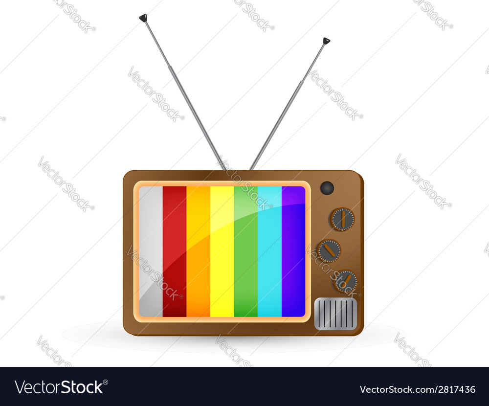 Brown vintage tv with rainbow screen vector | Price: 1 Credit (USD $1)
