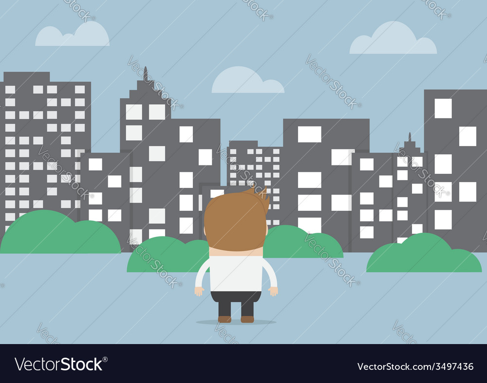 Businessman looking to silhouette city vector | Price: 1 Credit (USD $1)