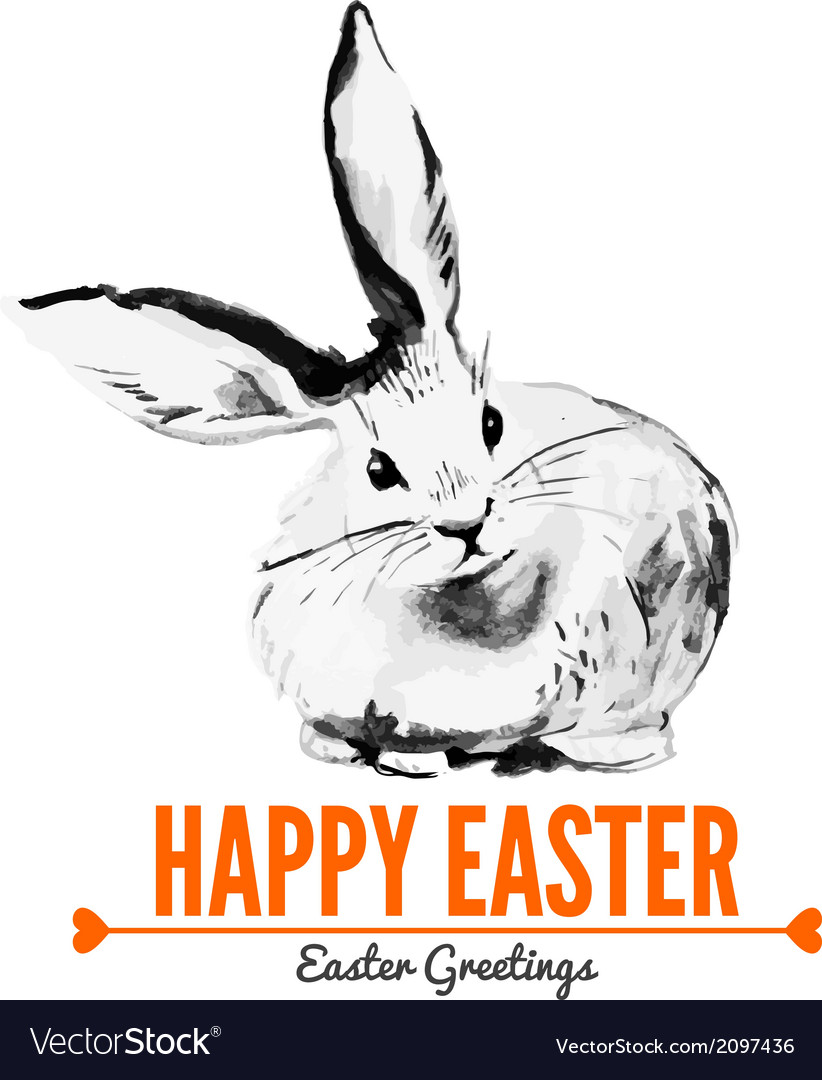 Card with sketch easter rabbit vector | Price: 1 Credit (USD $1)