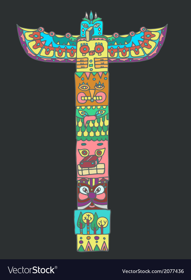 Color totem pole with animals vector | Price: 1 Credit (USD $1)