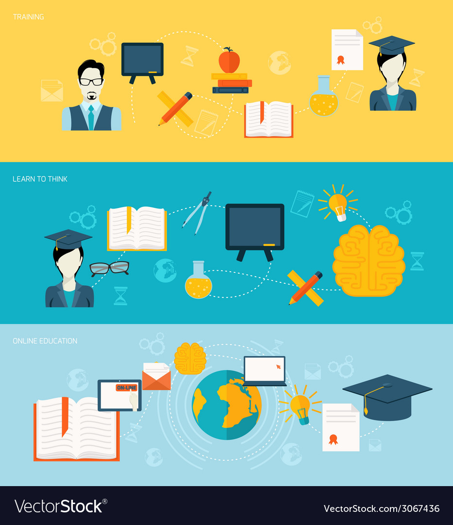 Education banners set vector | Price: 1 Credit (USD $1)