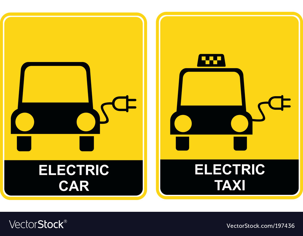Electric car electric taxi sign vector | Price: 1 Credit (USD $1)