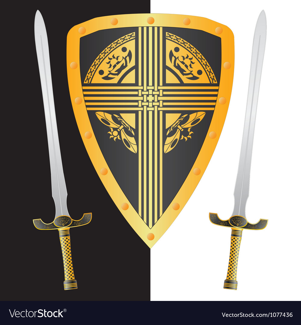 Fantasy shield and swordsthird variant vector | Price: 1 Credit (USD $1)