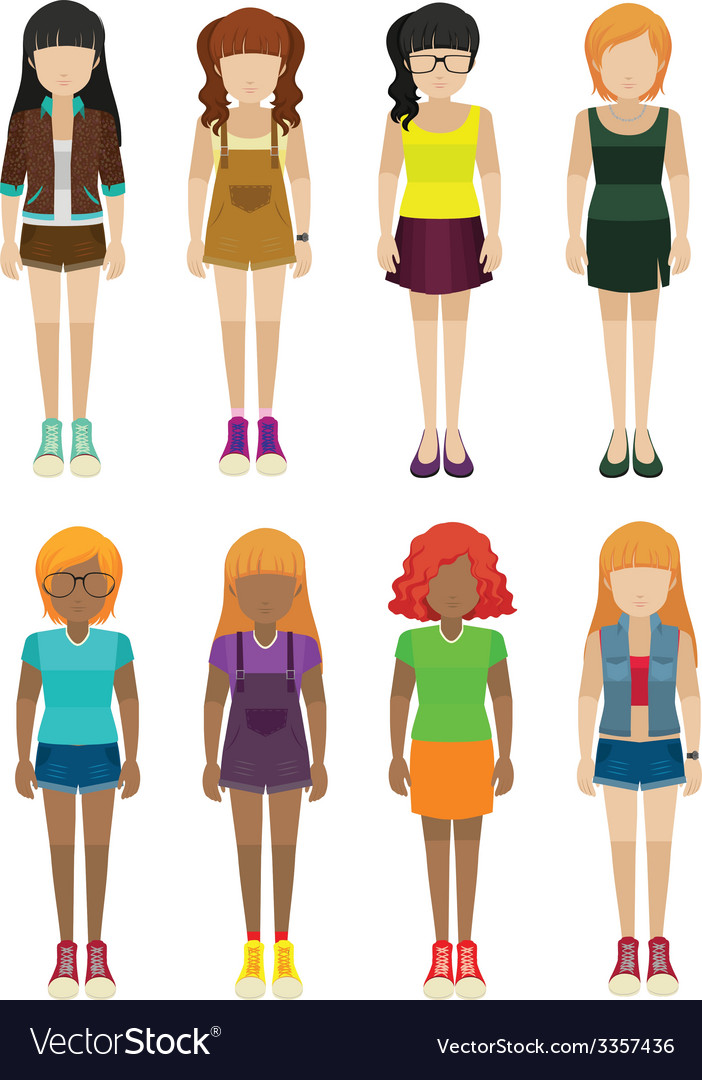 Frontview of faceless women vector | Price: 1 Credit (USD $1)