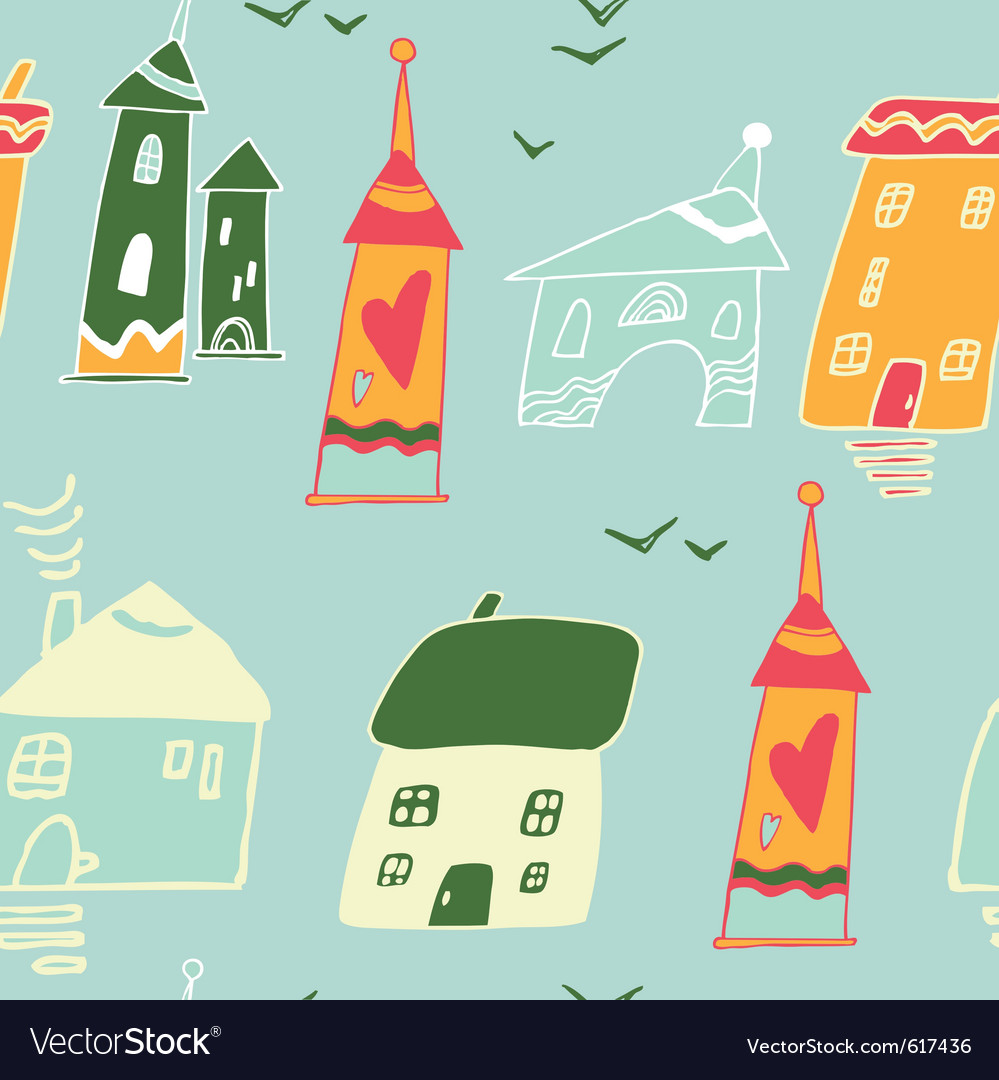 Homes and houses pattern vector | Price: 1 Credit (USD $1)