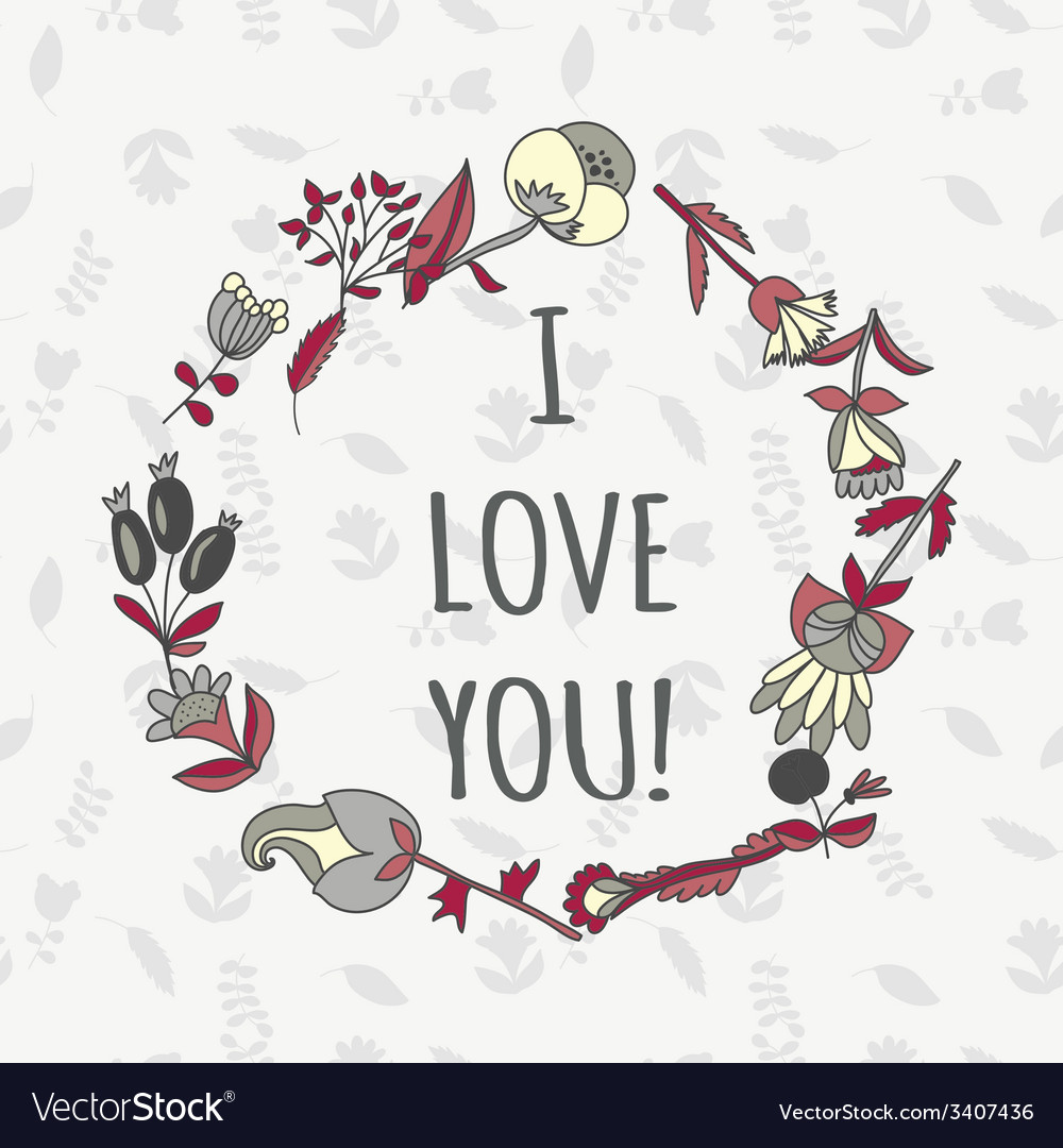 I love you postcard cute retro card with flowers vector | Price: 1 Credit (USD $1)
