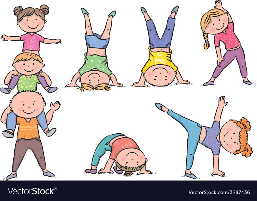 Kids aerobics vector