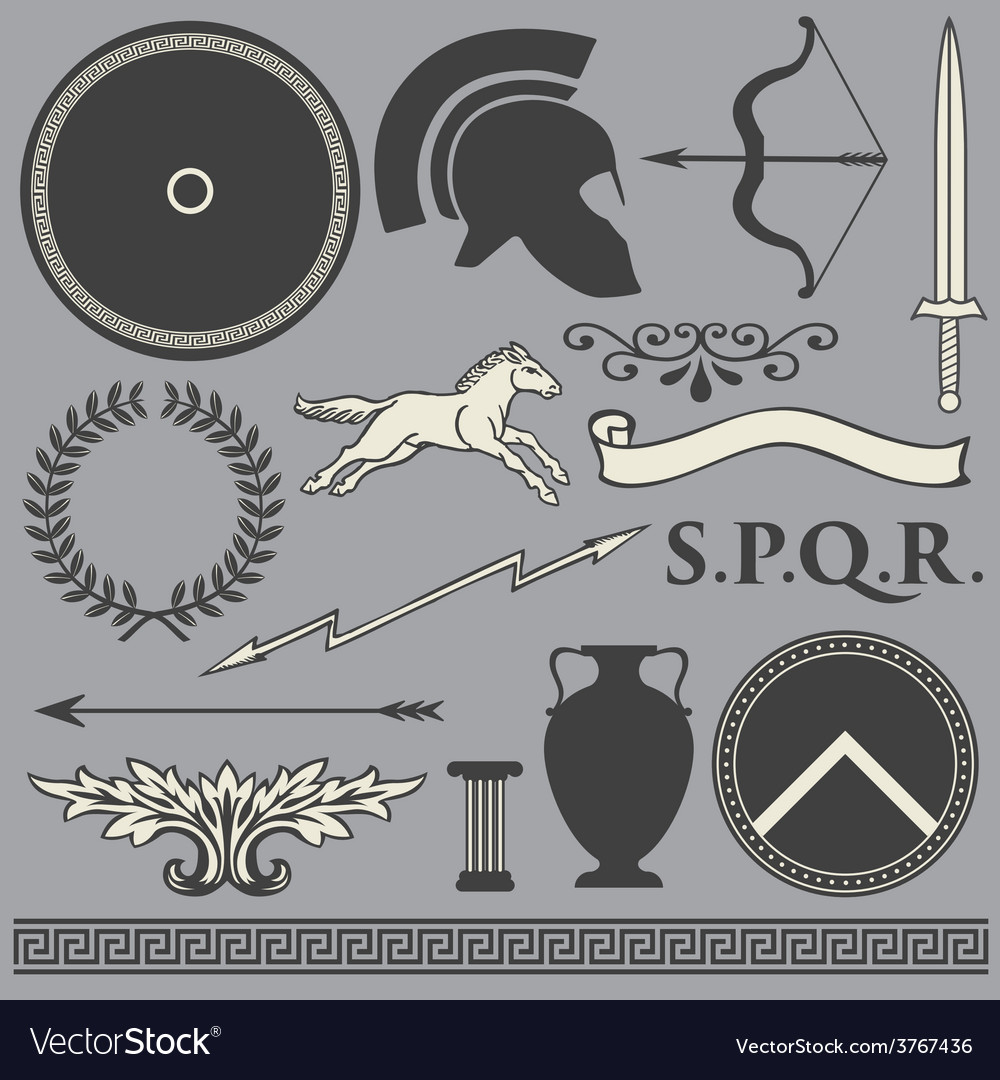 Old greek roman spartan set icons vector | Price: 1 Credit (USD $1)
