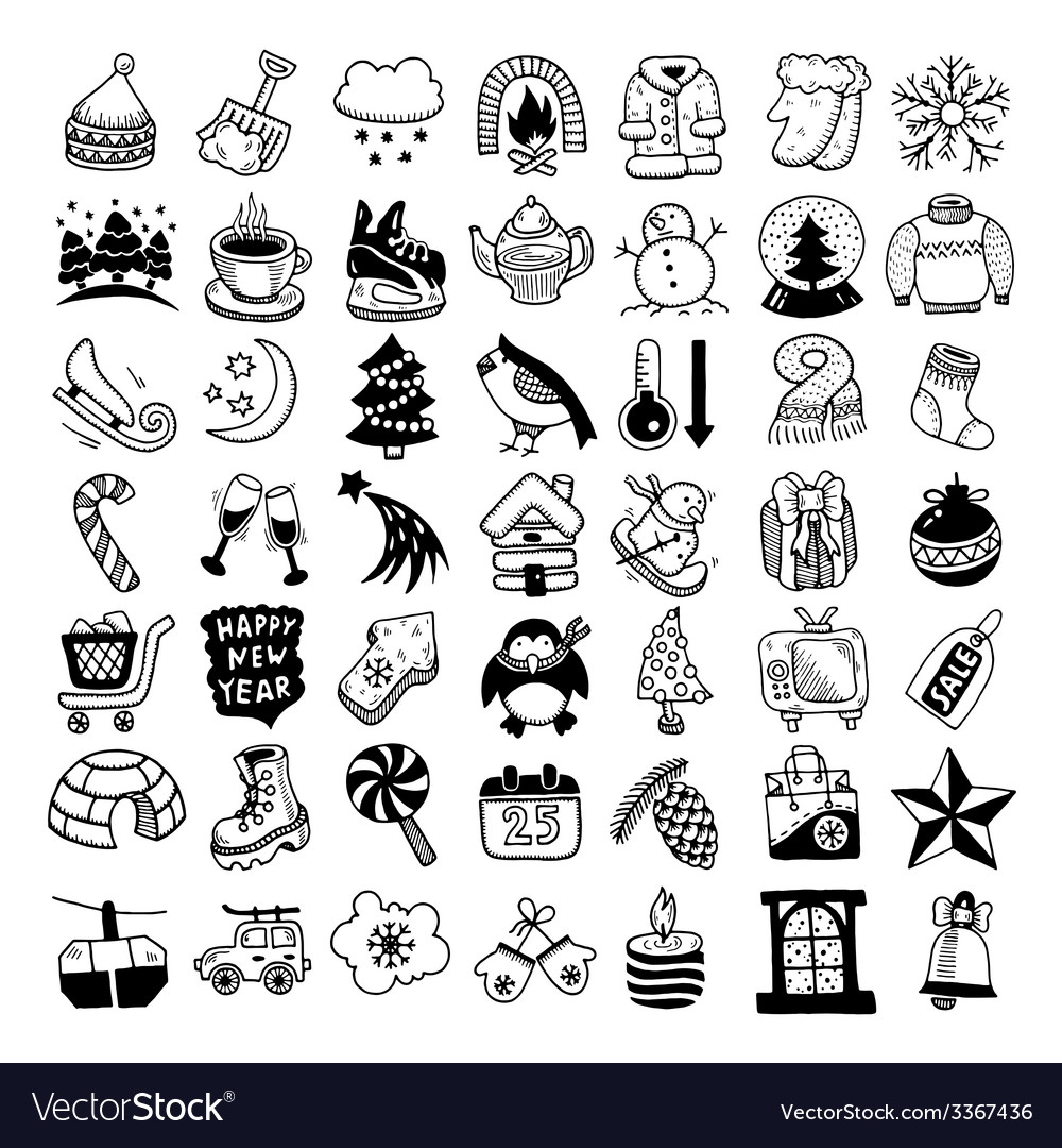 Sketch hand drawing winter icons set vector | Price: 1 Credit (USD $1)