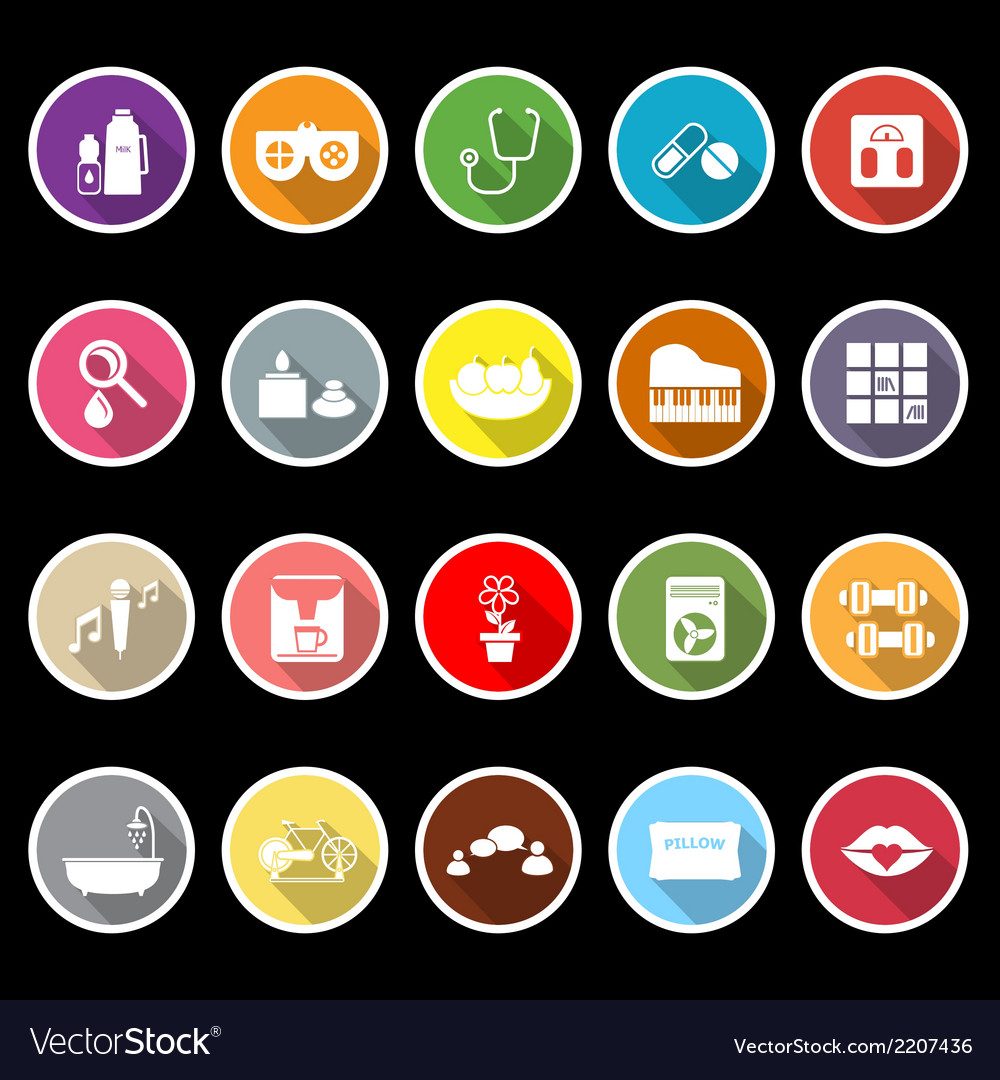 Wellness icons with long shadow vector | Price: 1 Credit (USD $1)