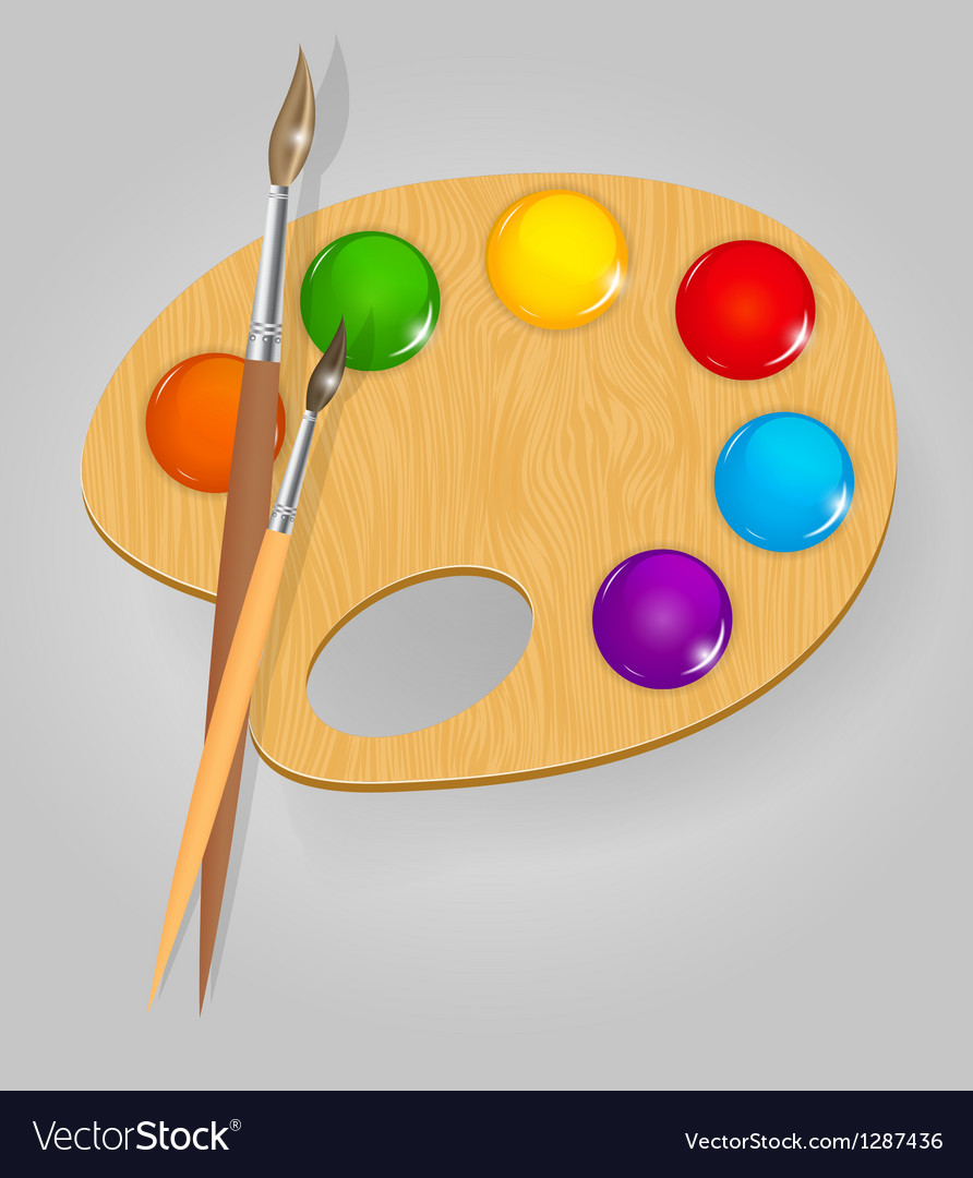 Wooden art palette with paints and brushe vector | Price: 3 Credit (USD $3)