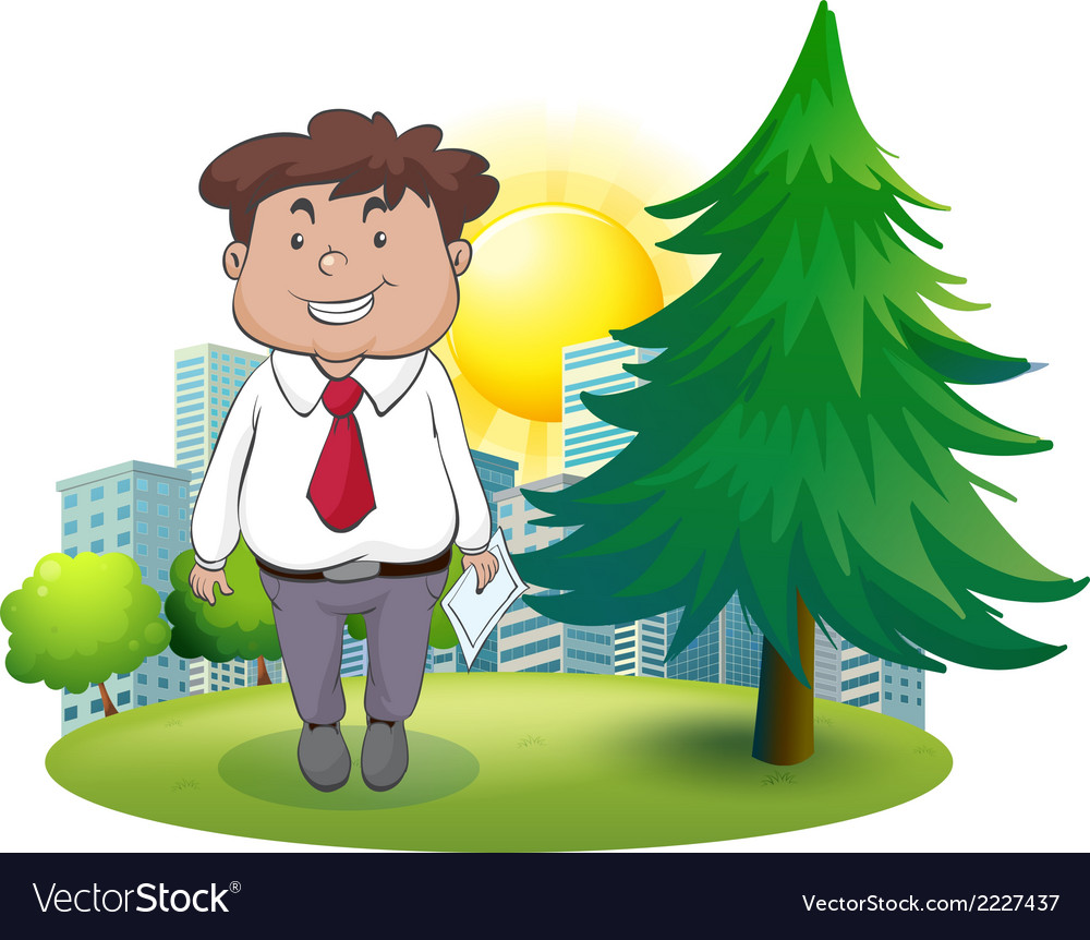 A fat businessman standing beside the pine tree vector | Price: 1 Credit (USD $1)