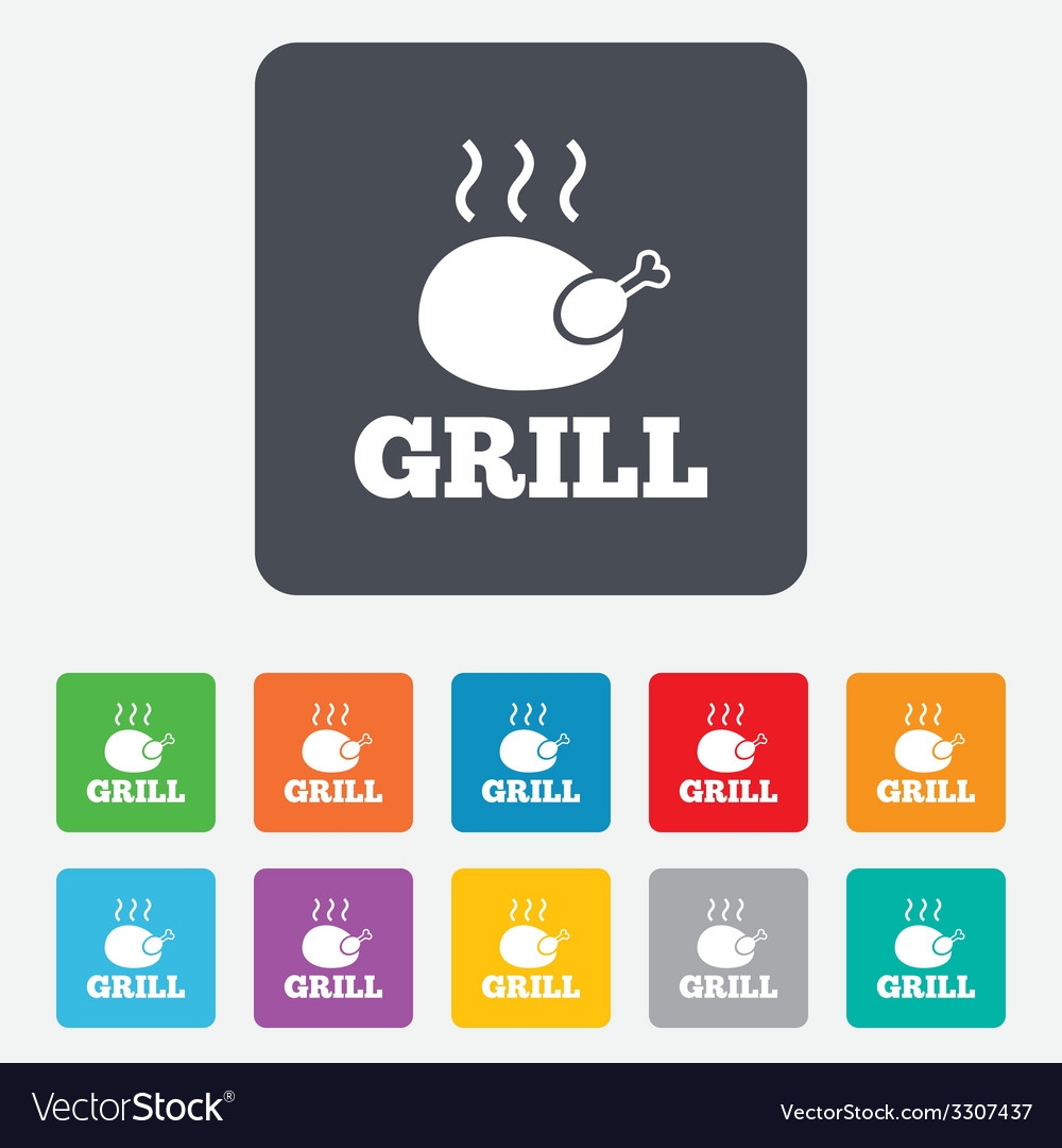 Chicken grill sign icon hen bird meat symbol vector | Price: 1 Credit (USD $1)