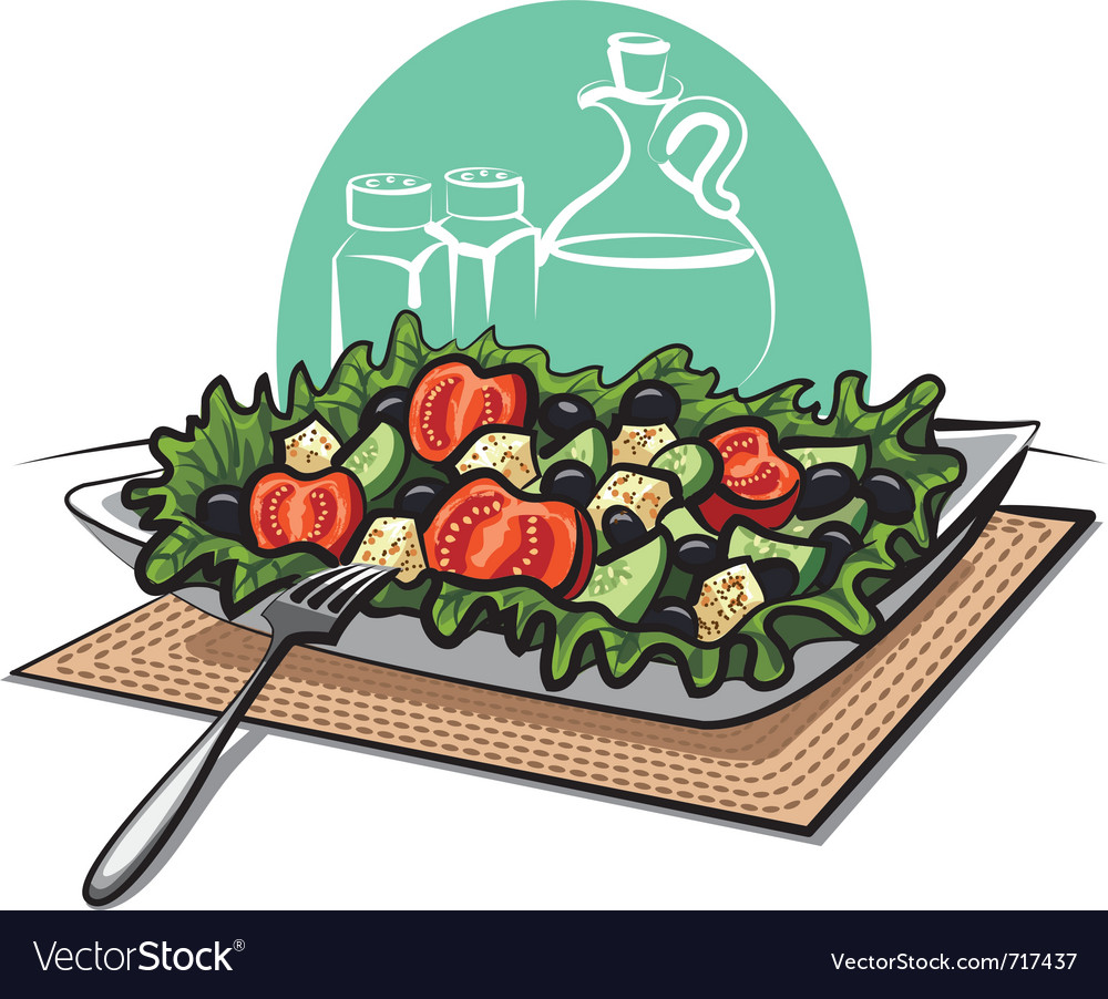 Fresh greek vegetable salad vector | Price: 3 Credit (USD $3)