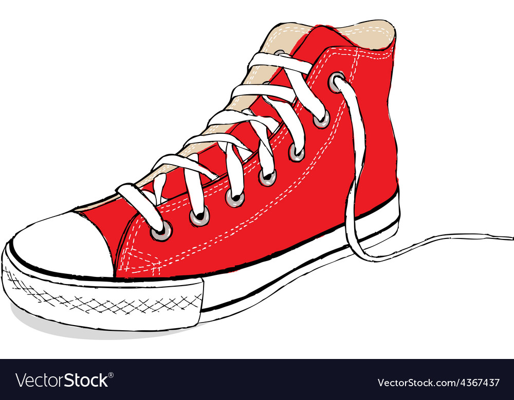 Hand draw modern red sport shoes vector | Price: 1 Credit (USD $1)