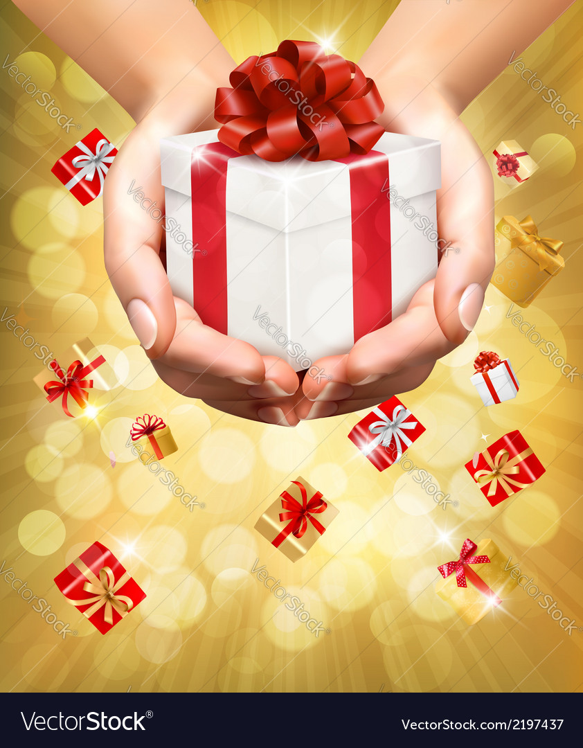 Holiday background with hands holding gift boxes vector | Price: 1 Credit (USD $1)