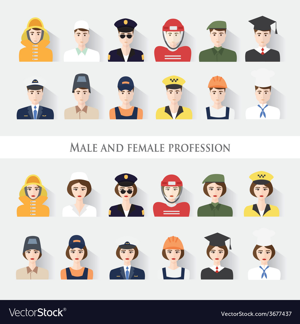 Male and female profession vector | Price: 1 Credit (USD $1)