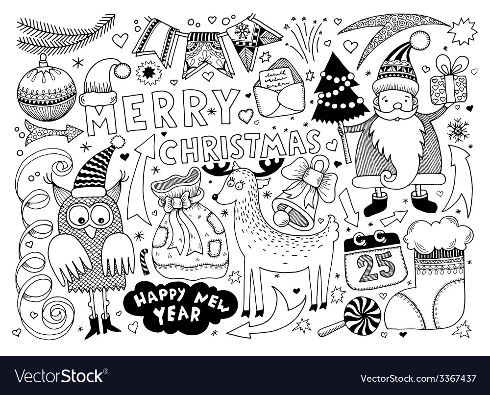 Merry christmas and happy new year set vector | Price: 1 Credit (USD $1)