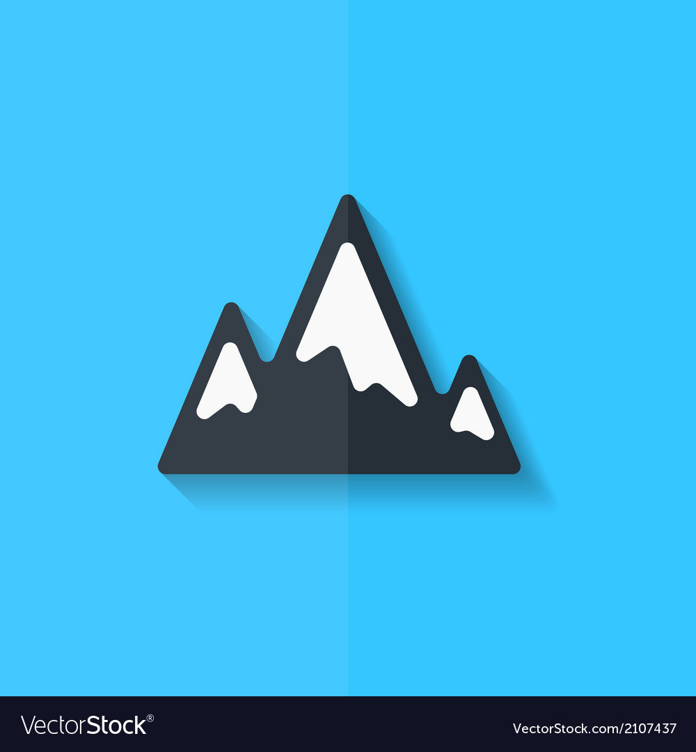 Mountains web icon flat design vector | Price: 1 Credit (USD $1)