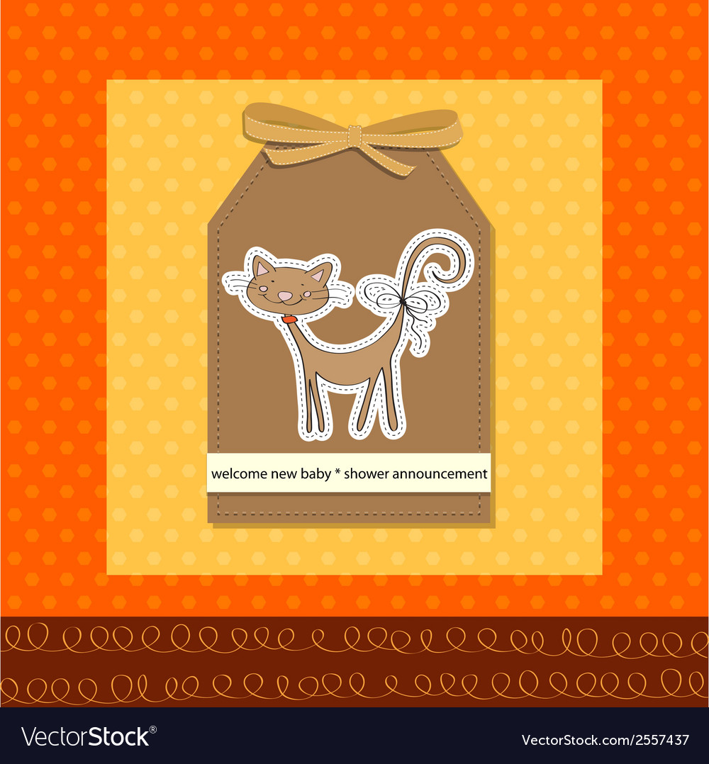 New baby shower card with cat vector | Price: 1 Credit (USD $1)