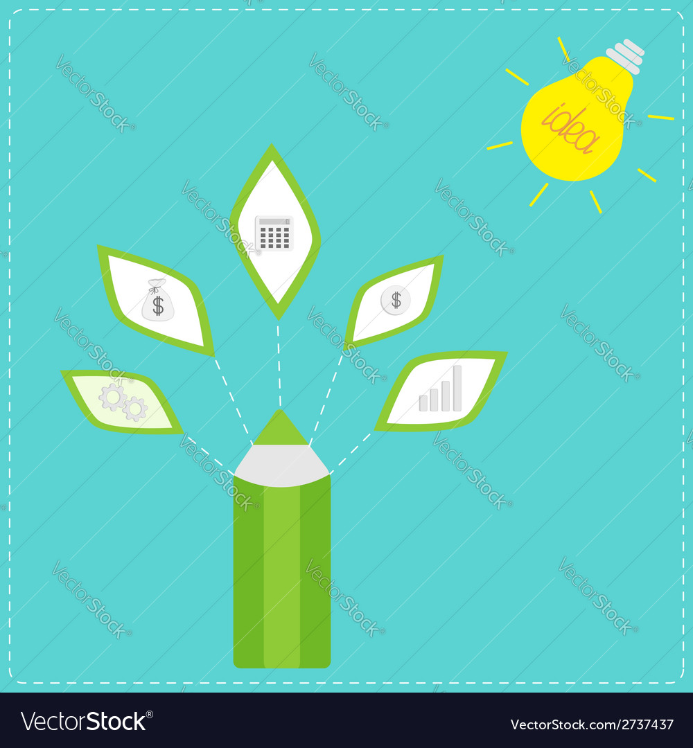 Pencil with business icons and light bulb sun idea vector | Price: 1 Credit (USD $1)