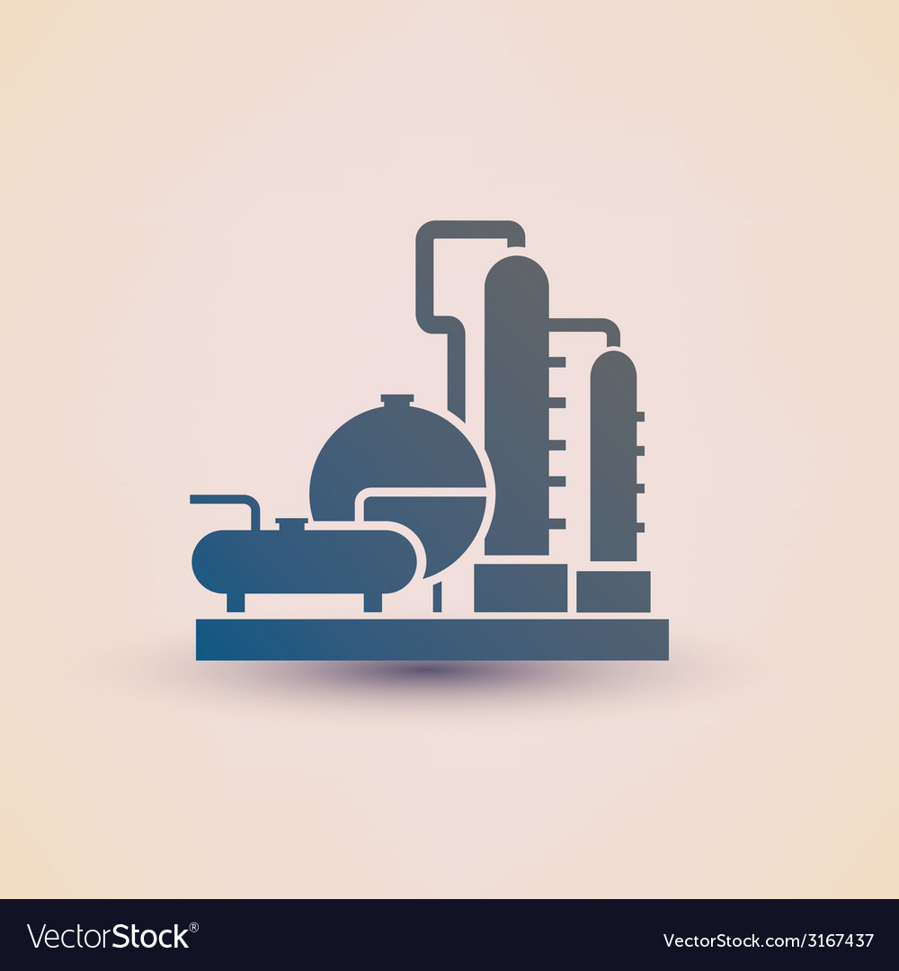 Petrochemical plant symbol refinery oil distillati vector | Price: 1 Credit (USD $1)