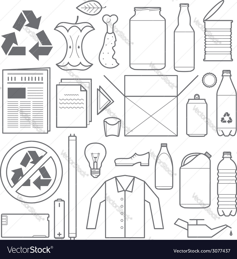 Recycling and various waste icons vector   Price: 1 Credit (USD $1)