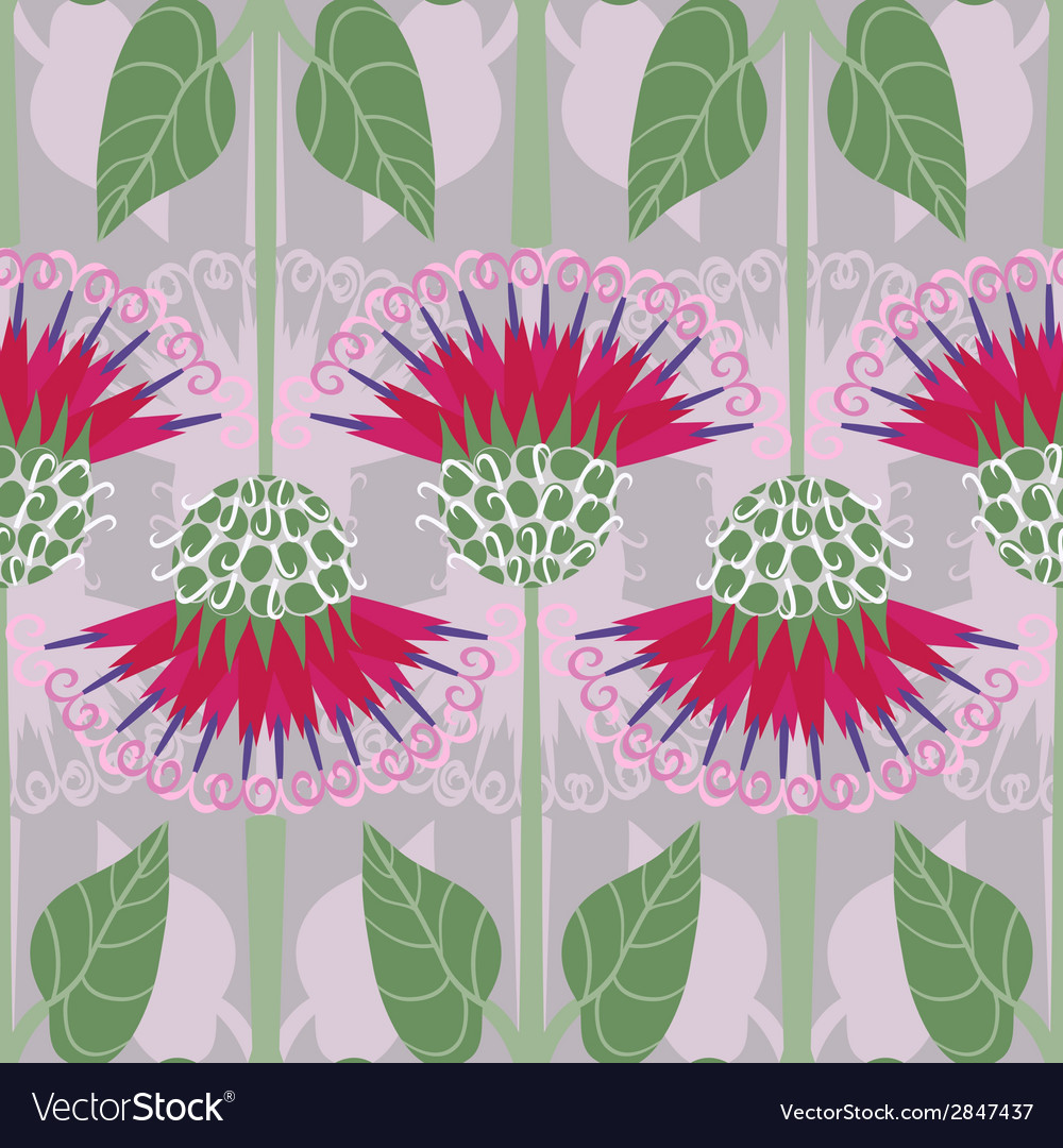 Seamless pattern with decorative burdock vector | Price: 1 Credit (USD $1)