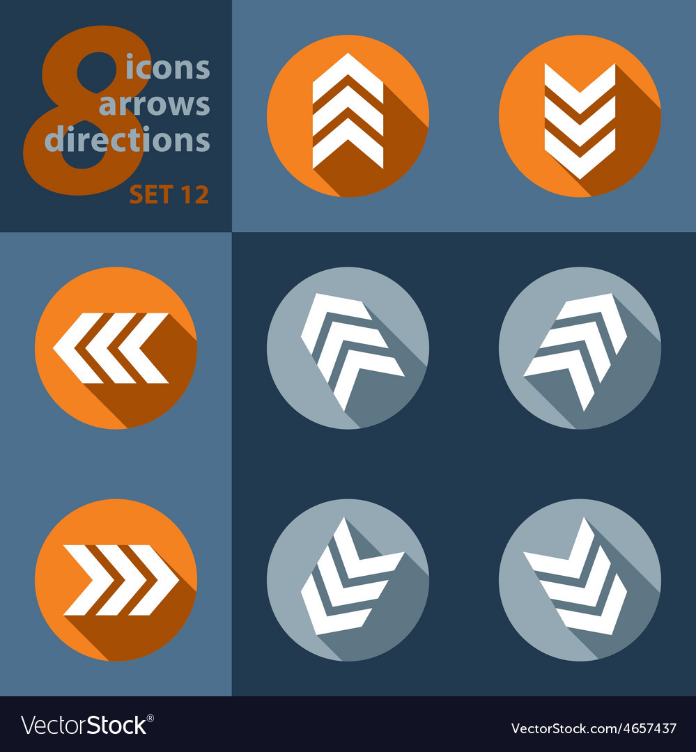 Set of eight arrows in all directions vector   Price: 1 Credit (USD $1)