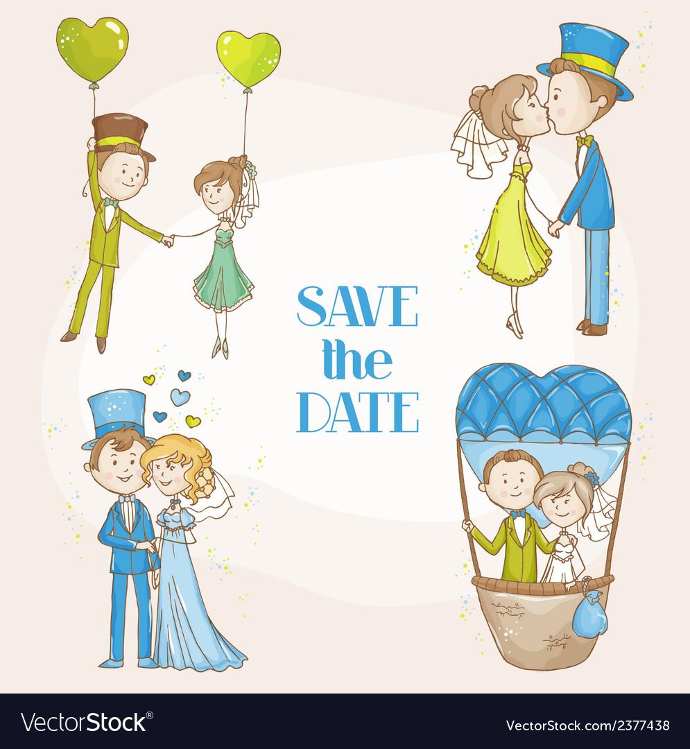 Bride and groom - wedding doodle set vector | Price: 1 Credit (USD $1)