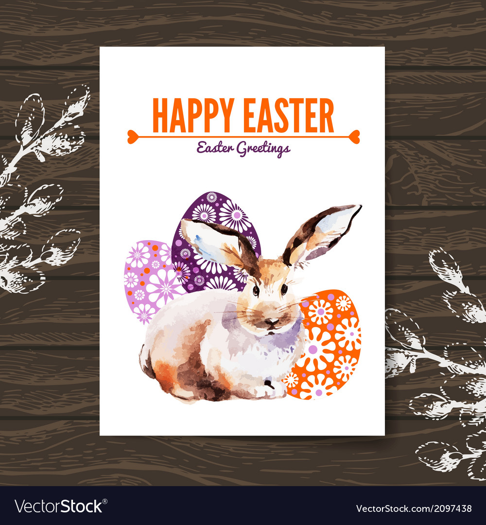 Easter card sketch watercolor vector | Price: 1 Credit (USD $1)