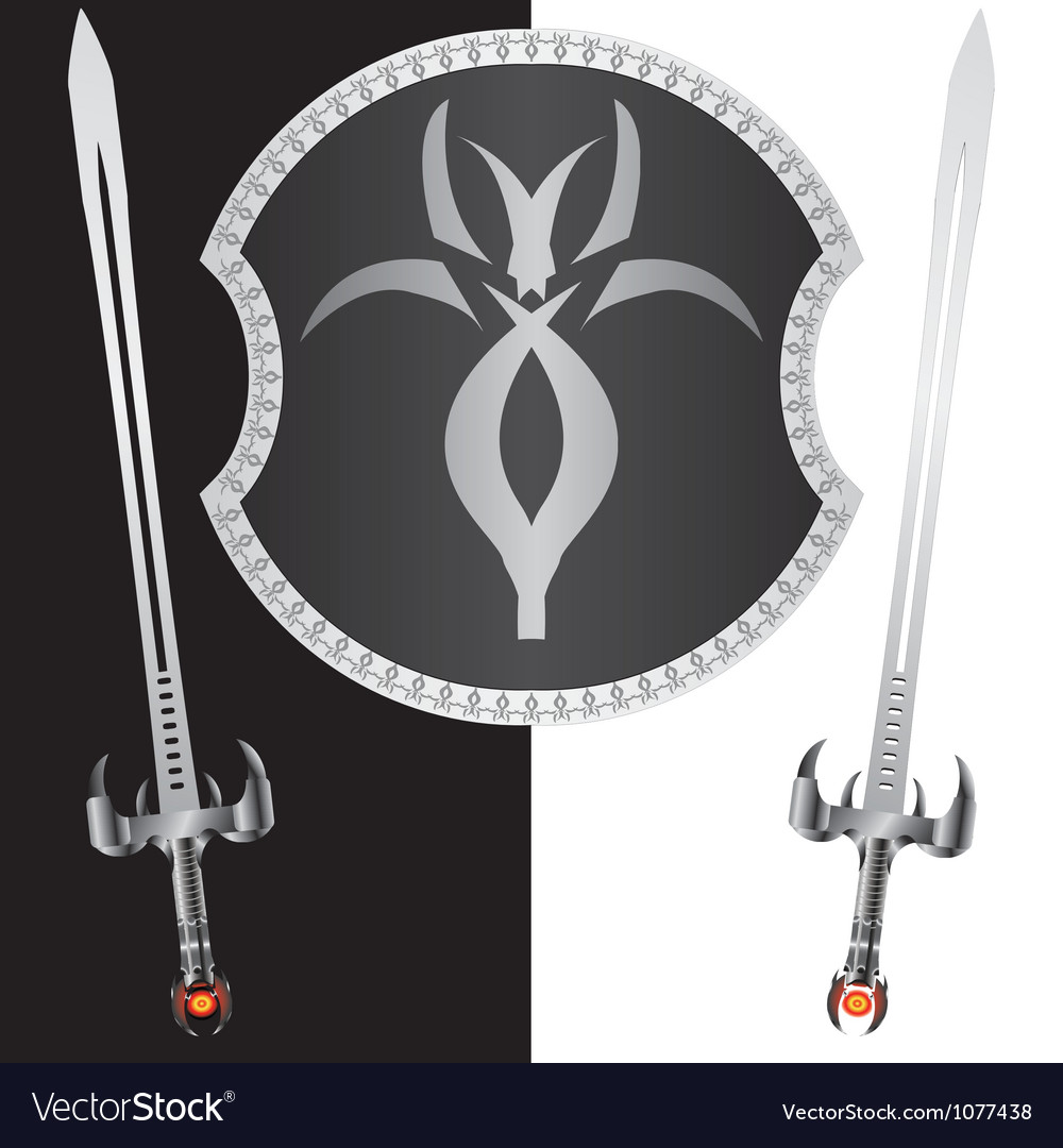 Fantasy shield and swordssecond variant vector | Price: 1 Credit (USD $1)