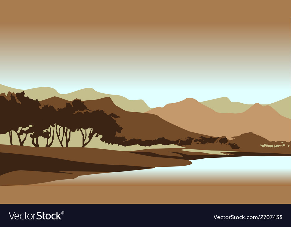 Forest sunset landscape vector | Price: 1 Credit (USD $1)