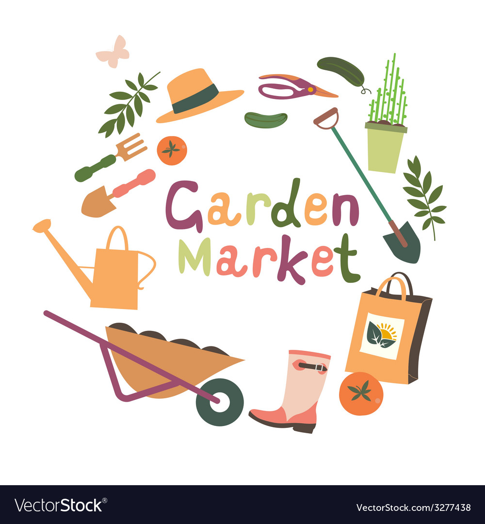 Garden market design vector | Price: 1 Credit (USD $1)