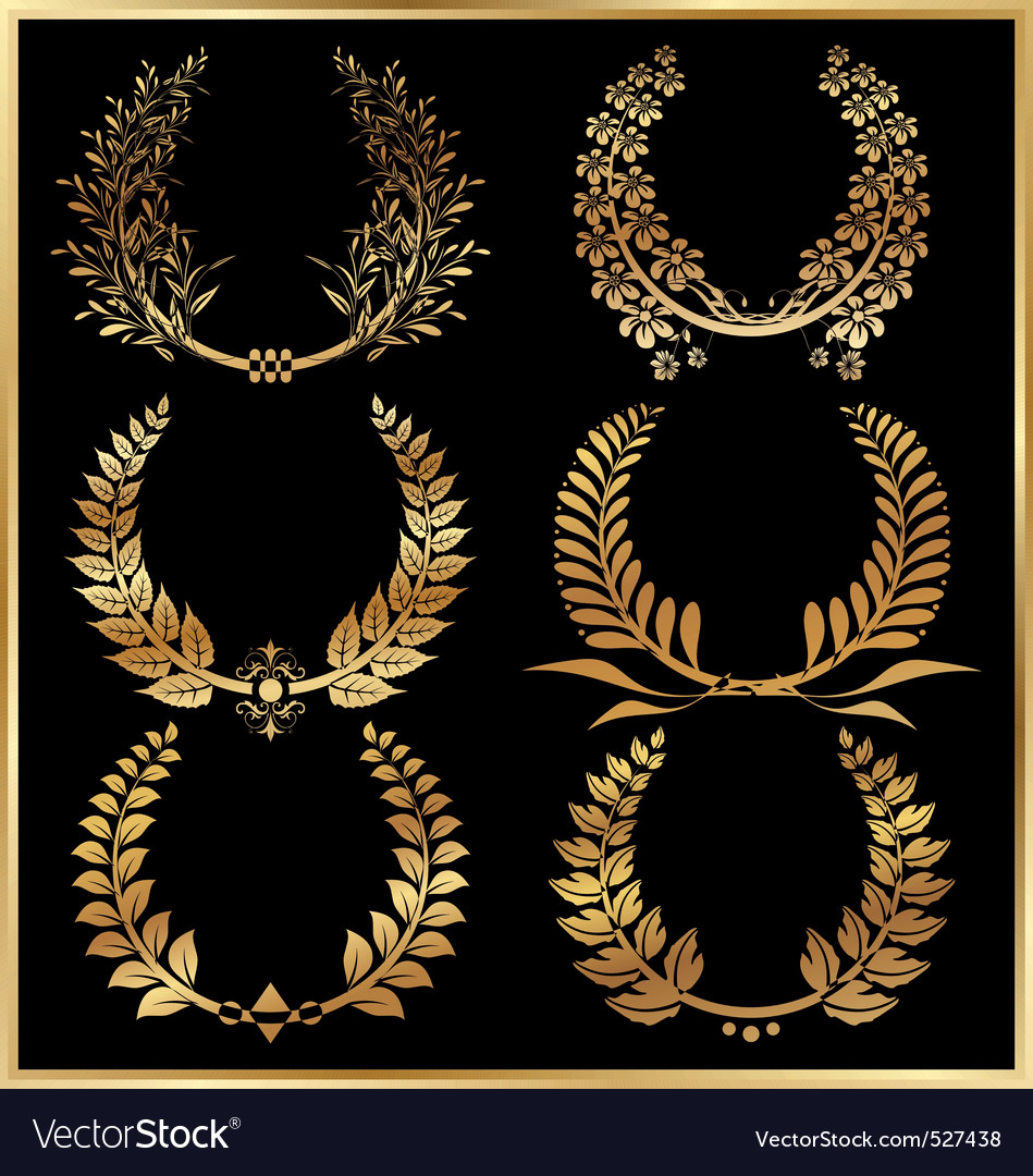 Golden laurel wreaths  set vector | Price: 1 Credit (USD $1)