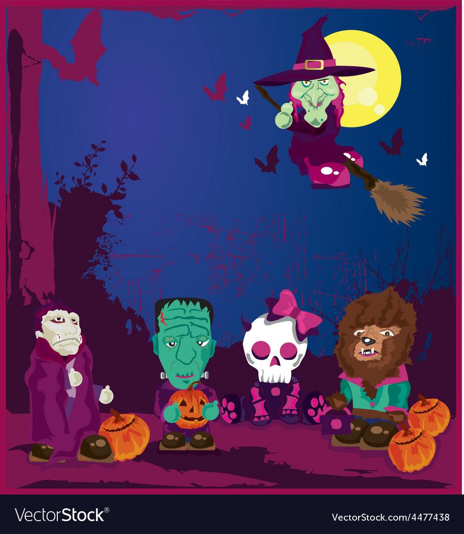 Halloween cartoon characters vector | Price: 1 Credit (USD $1)