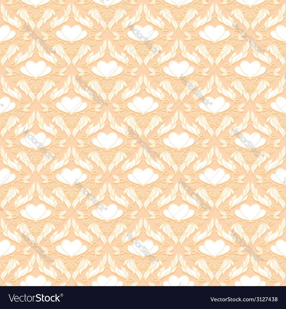 Retro seamless pattern with decorative hearts vector | Price: 1 Credit (USD $1)