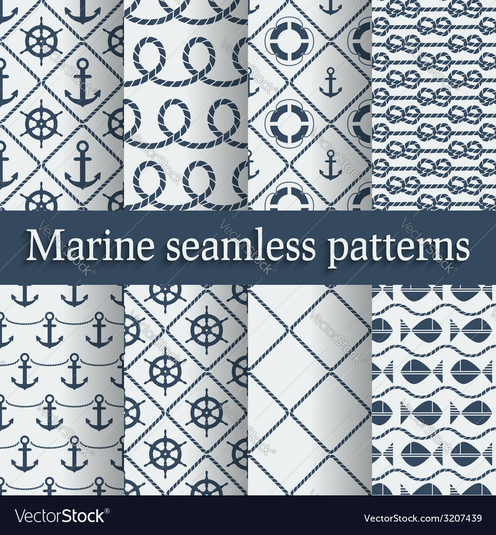 Blue marine seamless patterns set vector