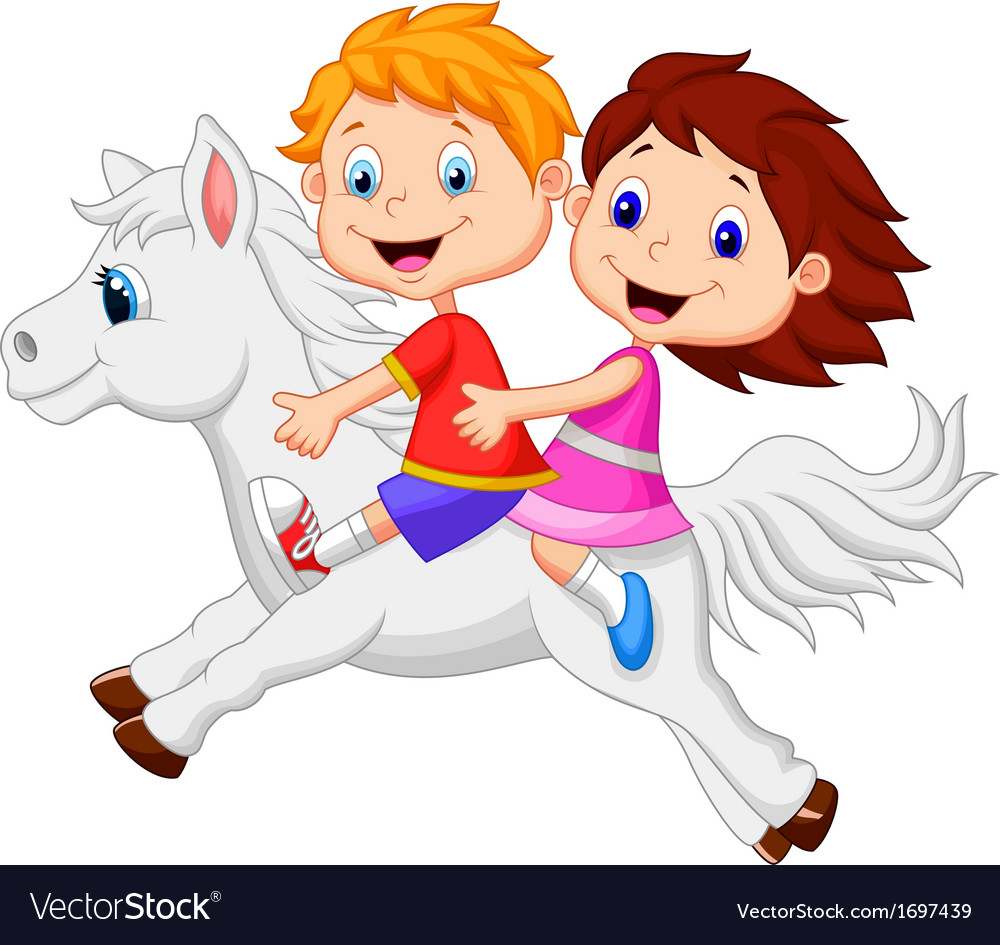 Cartoon boy and girl riding a pony horse vector | Price: 1 Credit (USD $1)