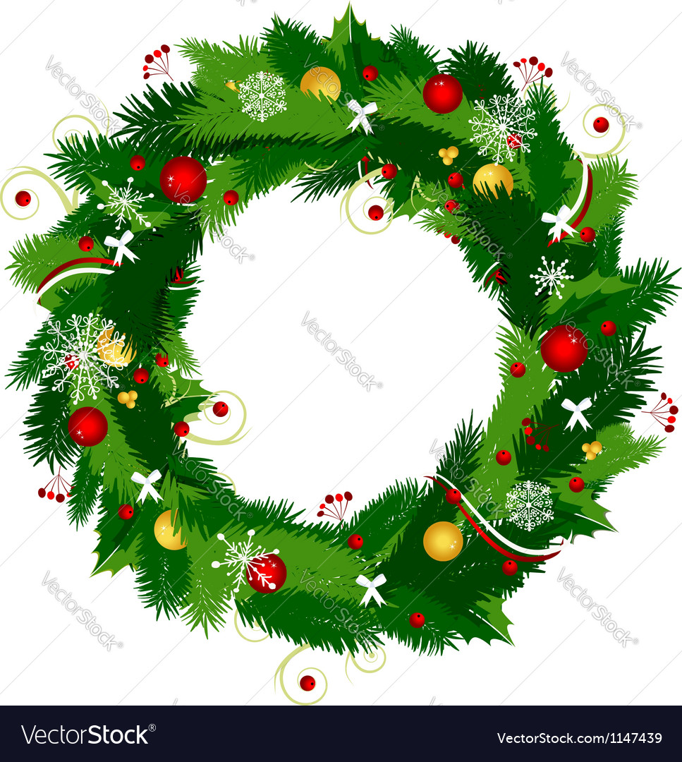 Christmas wreath for your design vector | Price: 1 Credit (USD $1)