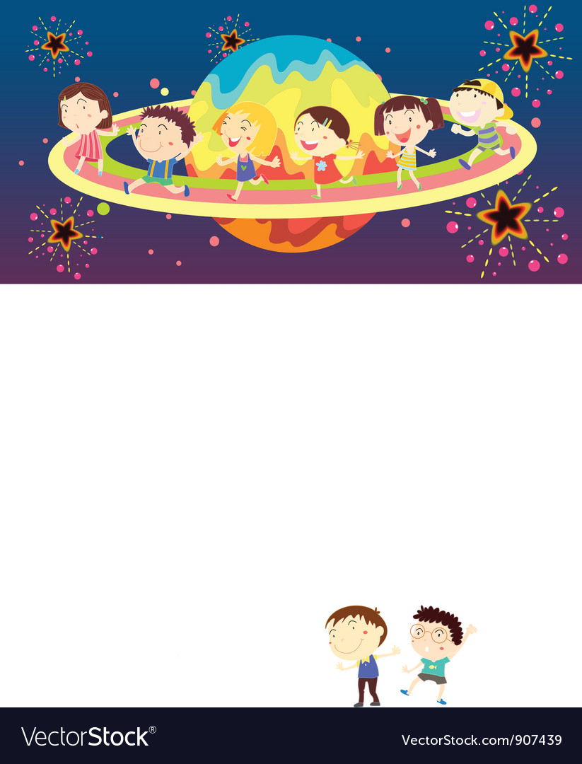 Diverse kids in space vector | Price: 3 Credit (USD $3)