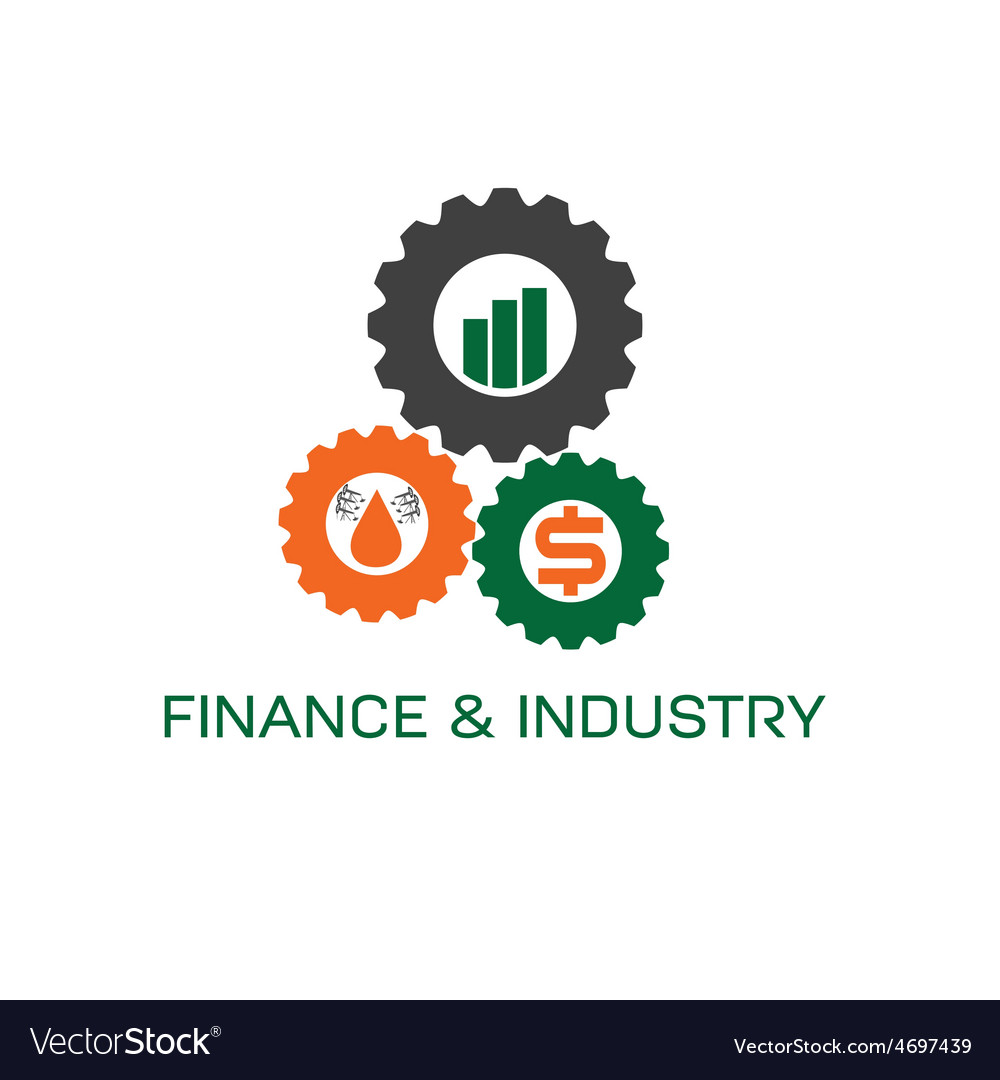 Icons of finance and industry in gears vector | Price: 1 Credit (USD $1)